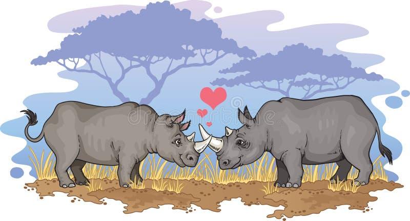 Rhinos in love stock illustration