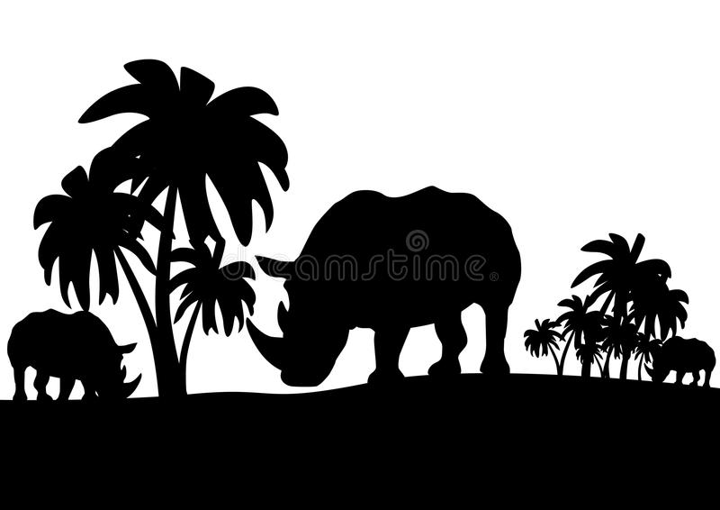 Download Rhinos in the savannah stock vector. Image of landscape - 20105661