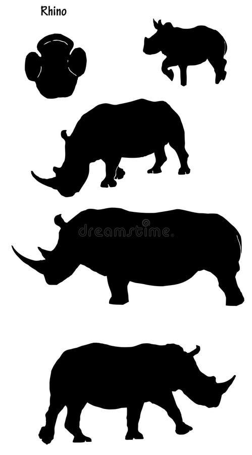 rhinos sylwetka royalty ilustracja