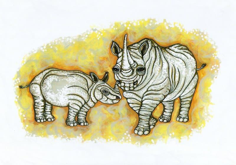 Rhinos Wrinkly immagine stock libera da diritti