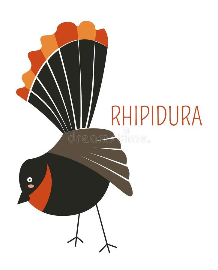 Rhipidura ptasiej kreskówki dziecięcy książkowy charakter ilustracja wektor