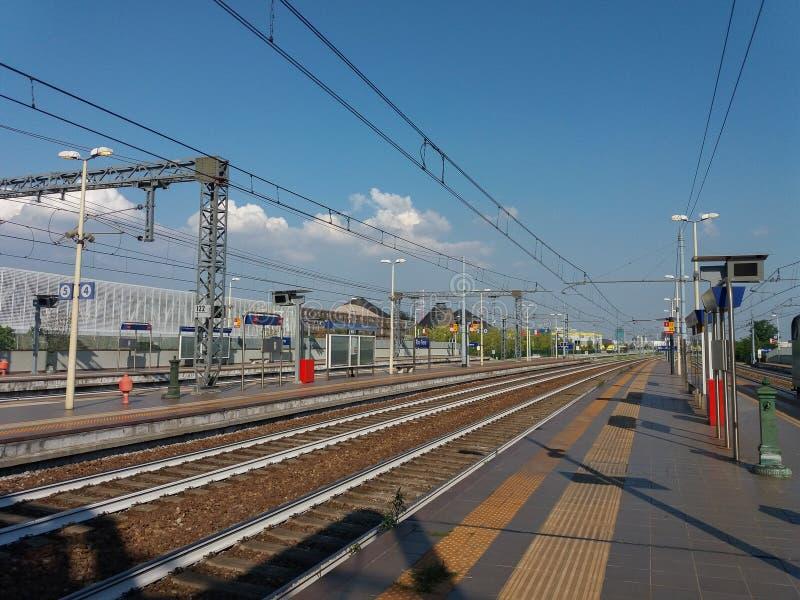 Rho Fiera train station. RHO, ITALY - CIRCA JULY 2017: Rho Fiera railway station royalty free stock image