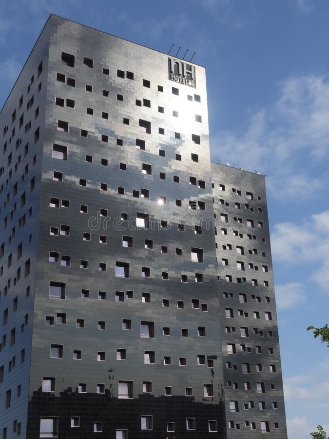 Modern buildings in Rho, Milan, Italy. Rho, Italy - June 23, 2018: Exterior of modern buildings hosting an hotel at Rho, Milan, Lombardy, Italy stock photo