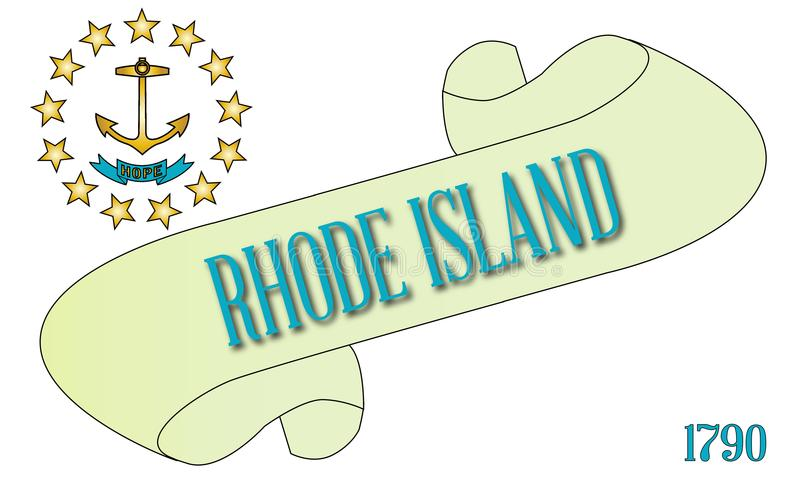 Rhode Island Flag Scroll illustrazione vettoriale