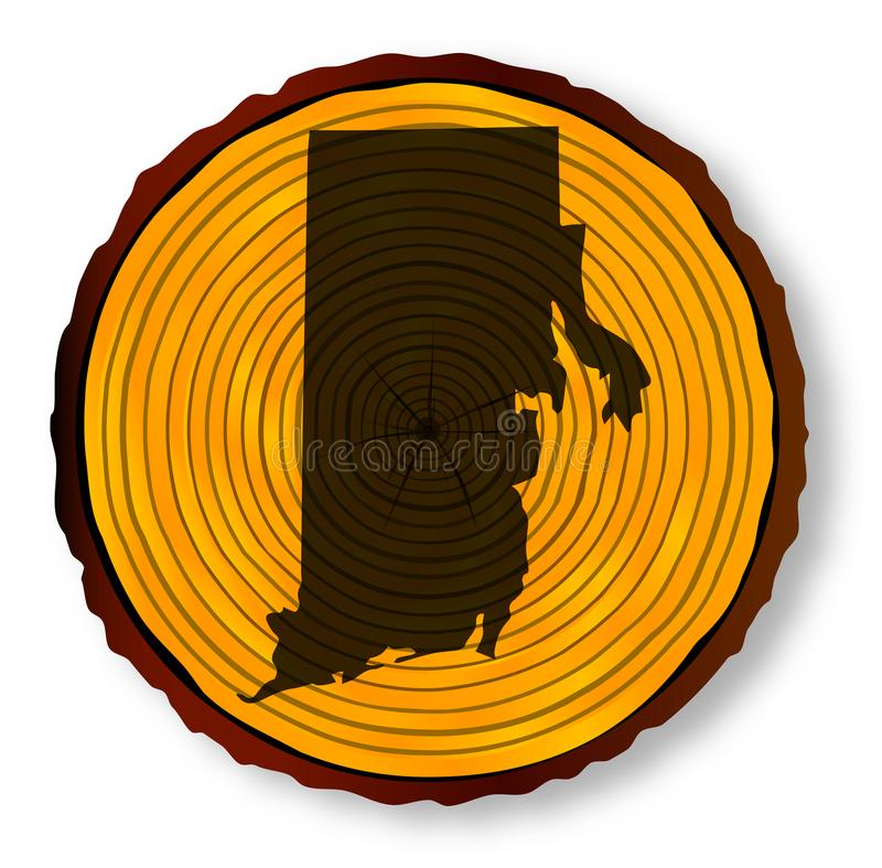 Rhode Island Map On Timber illustrazione di stock