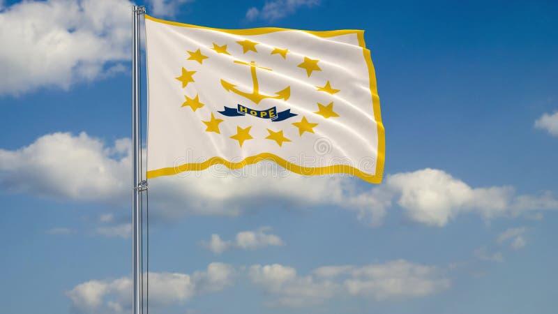 Rhode Island State-vlag in wind tegen het bewolkte hemel 3d teruggeven stock illustratie