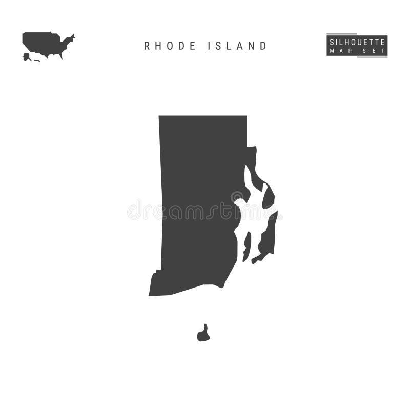 Rhode Island USA påstår vektoröversikten som isoleras på vit bakgrund Hög-specificerad svart konturöversikt av Rhode Island royaltyfri illustrationer