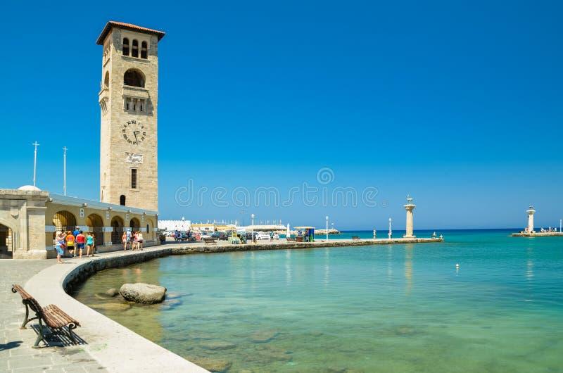 Rhodes öhamn i sommar Grekland fotografering för bildbyråer