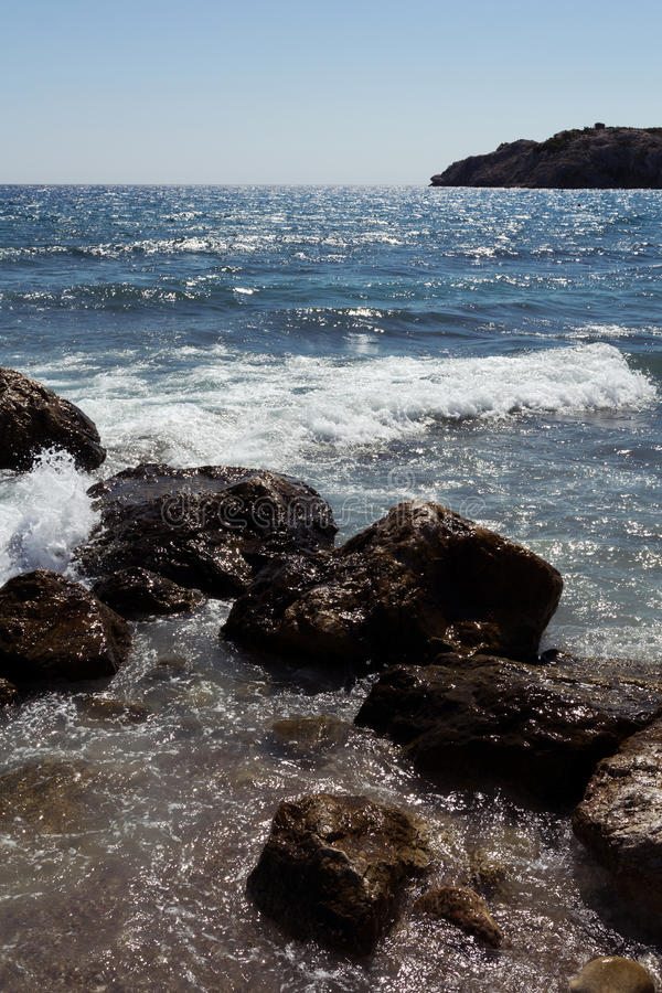 Rhodes Beach. The Rhodes Beach in Greece stock photo