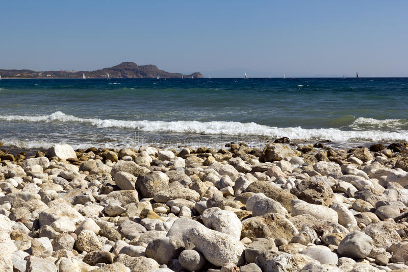 Rhodes Beach. The Rhodes Beach in Greece royalty free stock photos