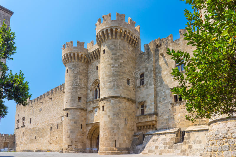 Rhodes Castle Greece Europe royaltyfria foton