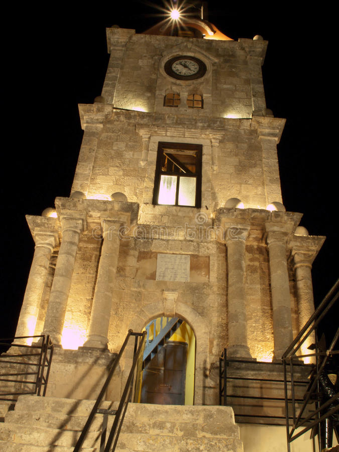Rhodes Clock Tower. Night view of Rhodes Clock Tower royalty free stock images