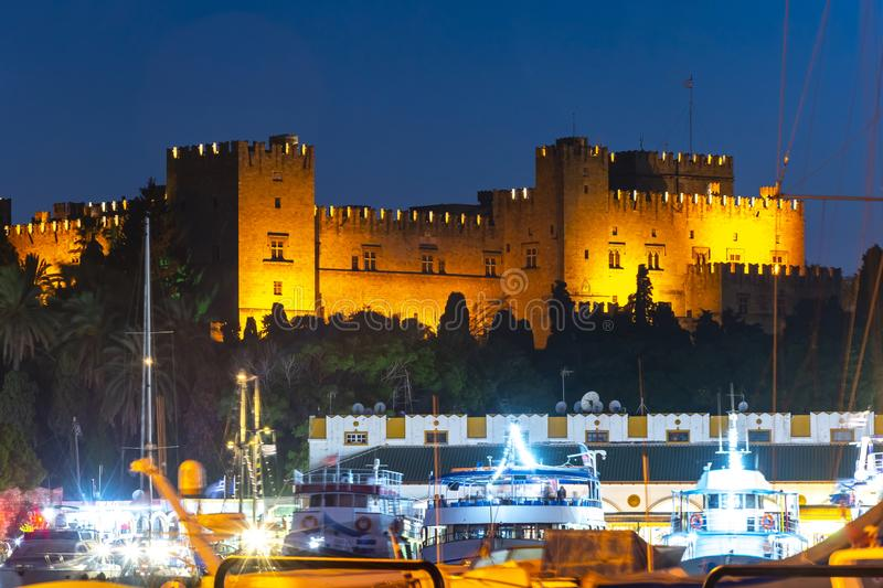Rhodes fortress at night, Dodecanese islands, Greece royalty free stock images
