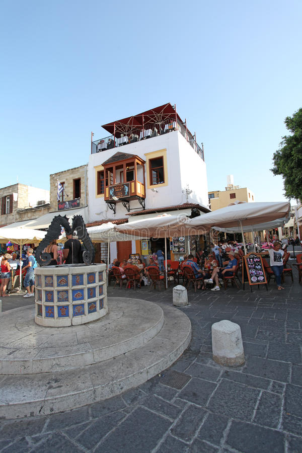 Rhodes gamla stadgator Grekland royaltyfri fotografi