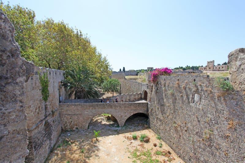 Rhodes gammal stadfästning Grekland fotografering för bildbyråer