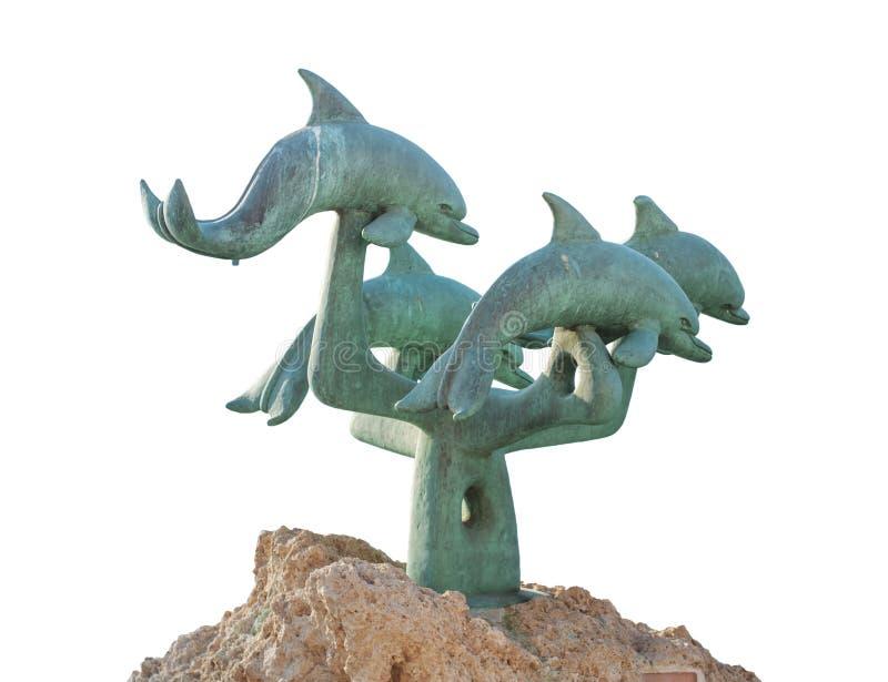 RHODES, GRÈCE - 26 août : Statue de dauphin d'isolement sur le blanc images libres de droits