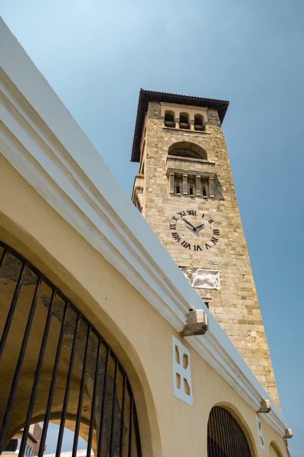 Church of the Evangelismos in Rhodes. Rhodes, Greece - August 4, 2018: View of the church of the Evangelismos in the harbour of the city of Rhodes, Greece stock images