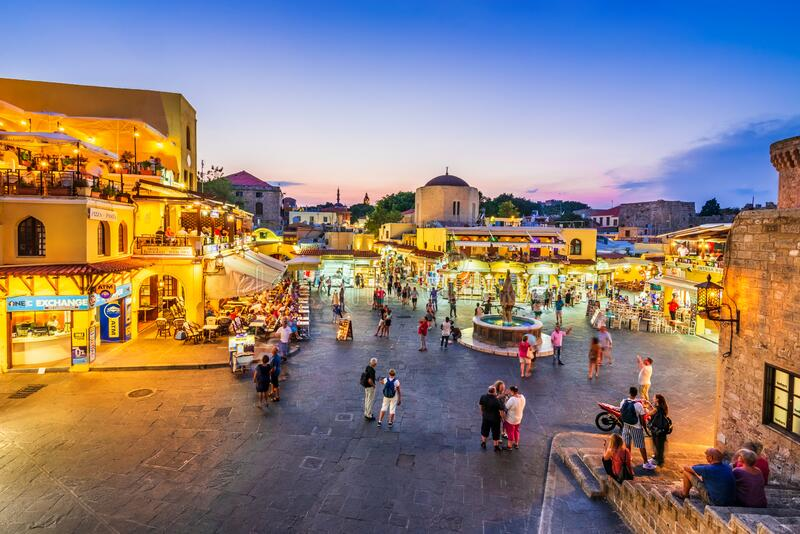 Rhodes, Greece - Hippocrates Square, Greek Islands stock photography