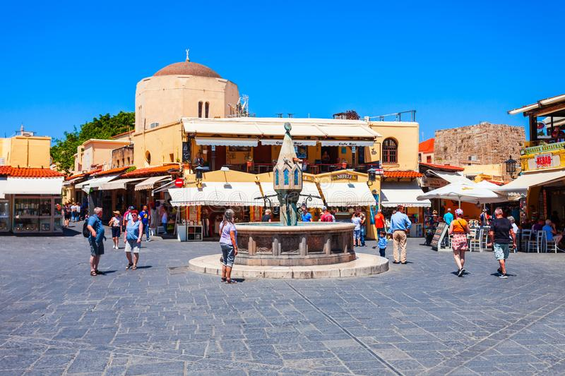 Hippocrates fountain, Rhodes old town. RHODES, GREECE - MAY 13, 2018: Hippocrates fountain at the Rhodes old town main square in Rhodes island in Greece royalty free stock photos