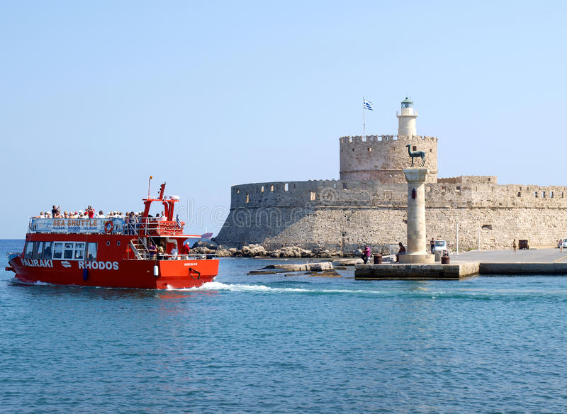 Rhodes harbour stock photography