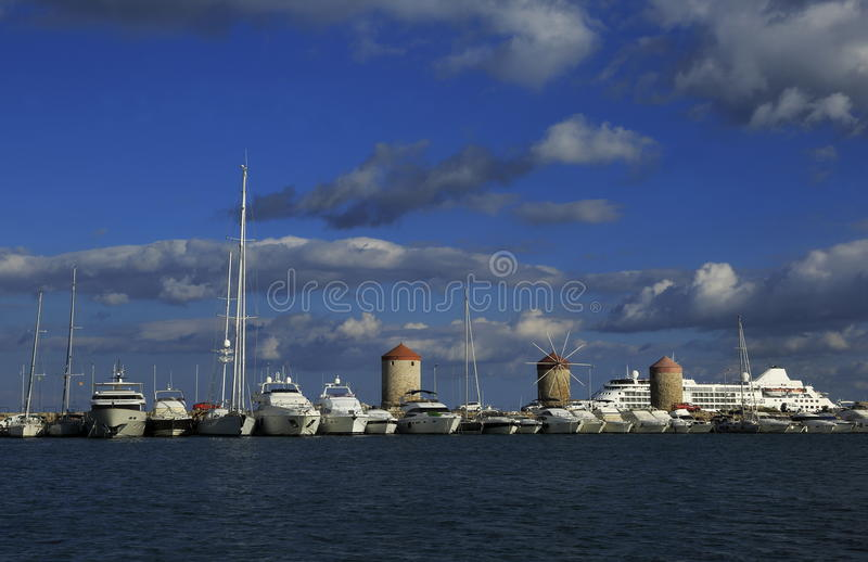 Rhodes Island port royalty free stock photo