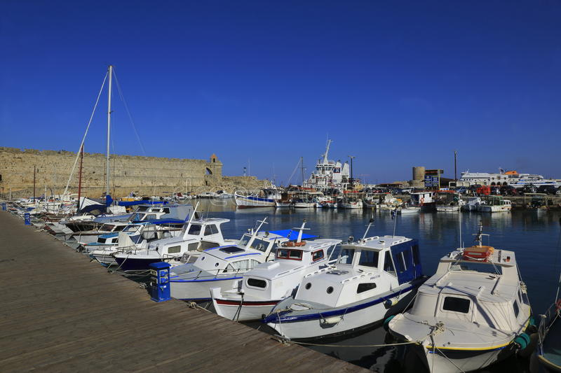 Rhodes Island port stock images