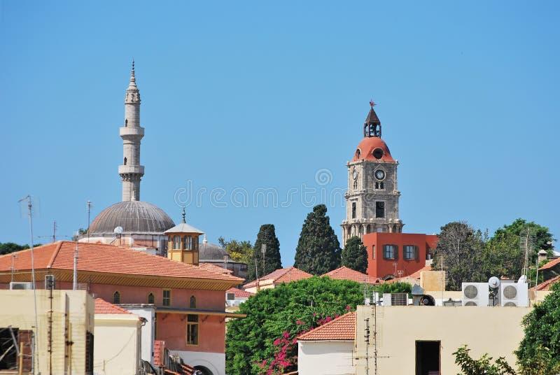 Rhodes Landmarks Suleiman Mosque och klockatorn arkivfoton
