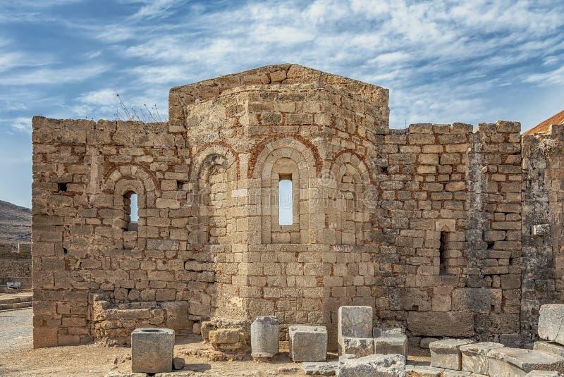Rhodes Lindos Acropolis Church del san John Facade fotografia stock libera da diritti