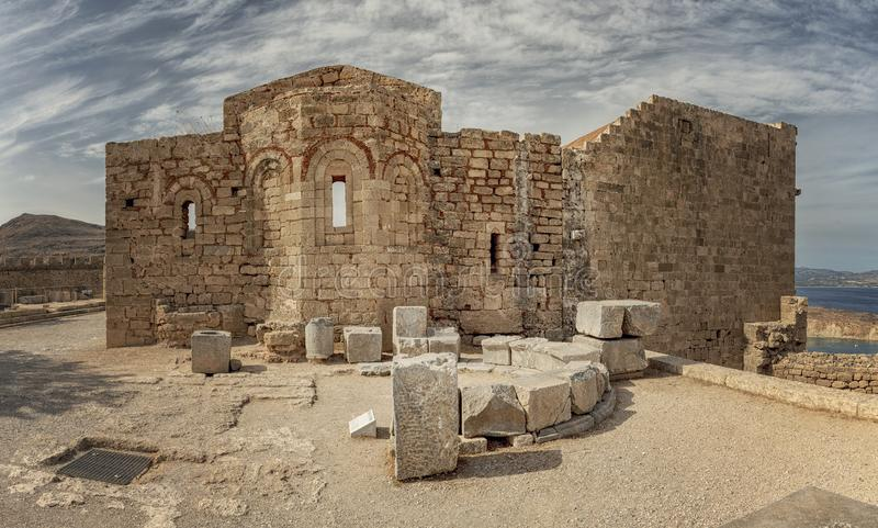 Rhodes Lindos Acropolis Church di Saint John fotografia stock libera da diritti