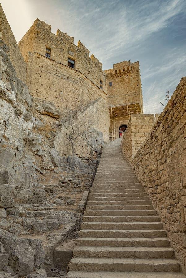 Rhodes Lindos Acropolis Staircase Entrance fotografie stock libere da diritti