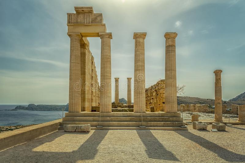 Rhodes Lindos Acropolis Temple Ruins immagine stock