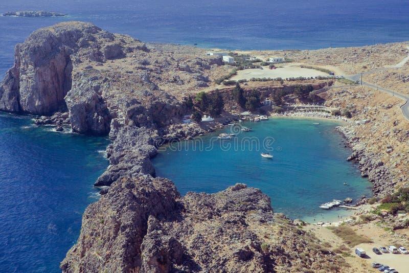Download Rhodes, Lindos bay stock photo. Image of mountain, coastline - 26553702