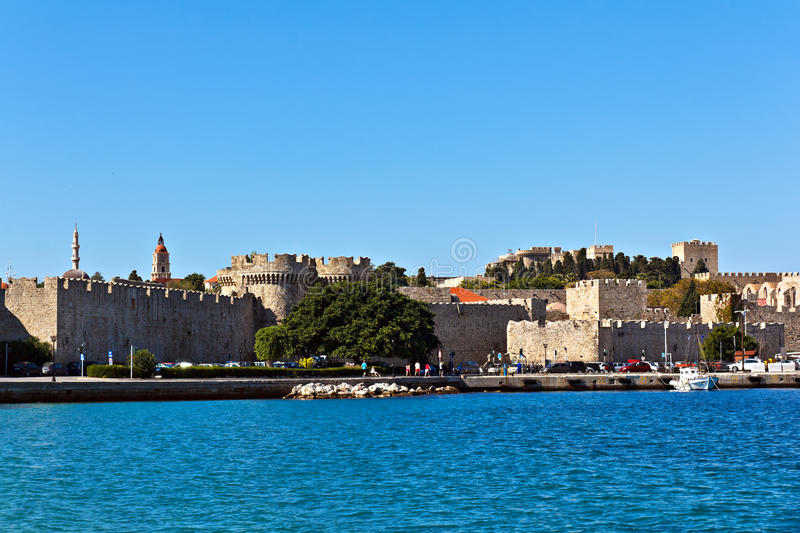 Rhodes medieval castle. Rhodes town medieval castle general view stock photography