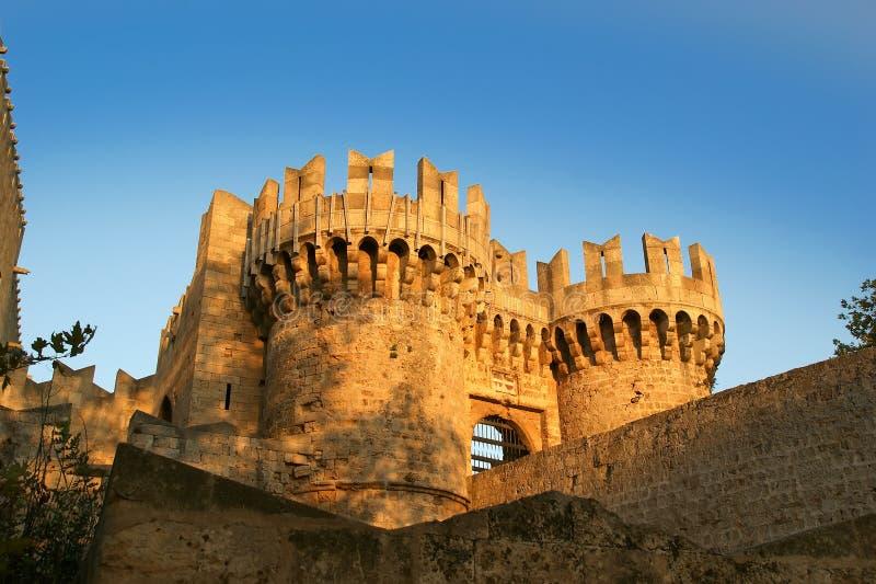 Rhodes Medieval Knights Castle (Paleis), Griekenland royalty-vrije stock foto