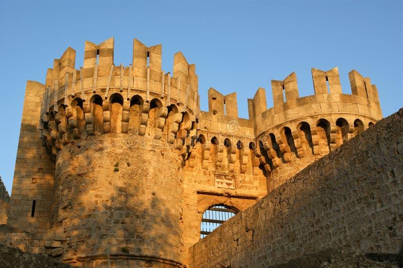 Rhodes Medieval Knights Castle (Paleis), Griekenland royalty-vrije stock afbeelding