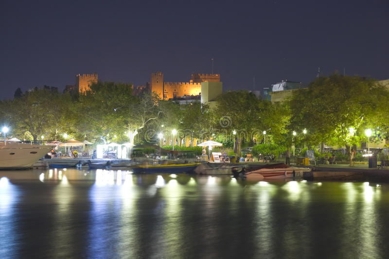 Rhodes at night royalty free stock images