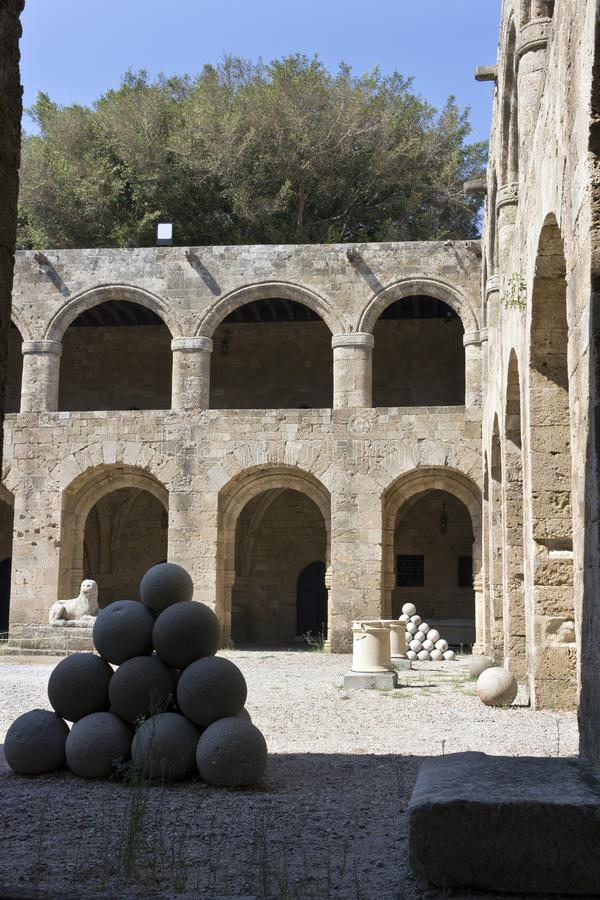 Rhodes Old City - Courtyard of  the medieval building of Hospital of the Knights of Saint John, today Archaeological museum . Gree royalty free stock photo