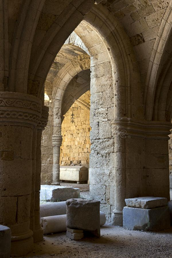 Rhodes Old City - Gothic arches in the courtyard of historic Knight hospital  today Archaeological Museum. Greece royalty free stock images
