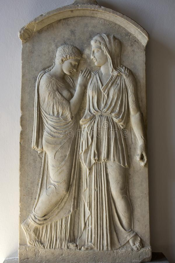 Rhodes Old City - Grave stele of Krito and Timarista, mother and her daughter 4th century B.C. . Archaeological museum, Dodecane royalty free stock photos