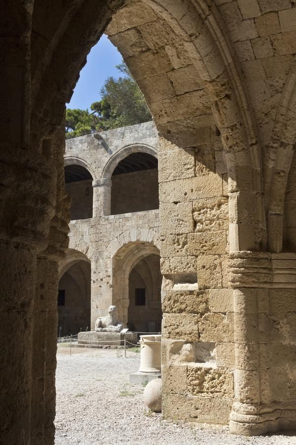 Rhodes Old City - Hospital of the Knights of Saint John, the medieval open arcade. At present Archaeological museum. Dodecanese Is royalty free stock image