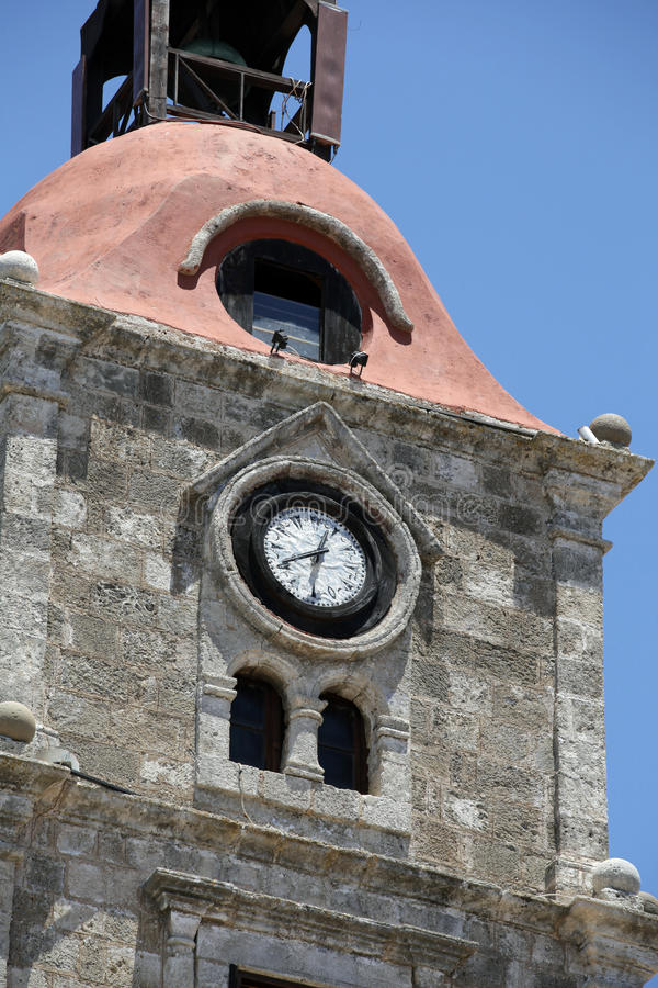 Rhodes. Old clock tower in Rhodes town , Greece stock images