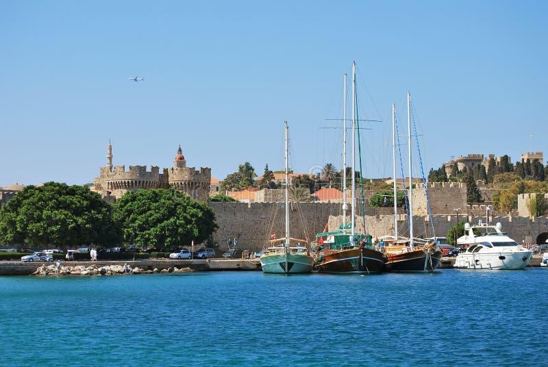 Rhodes. Panorama av den gamla staden arkivbild