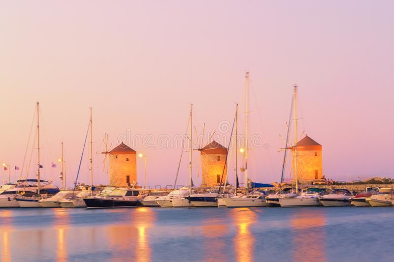 Rhodes Windmills - Wiatraki Rhodes, Greek royalty free stock images