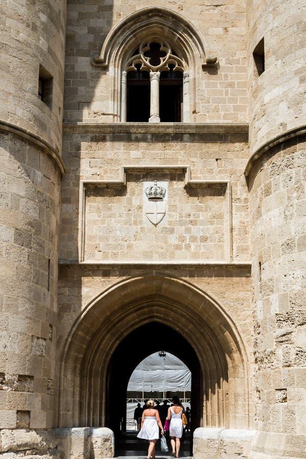 Rhodes wyspa, średniowieczny Uroczystego mistrza pałac, Grecja zdjęcie stock