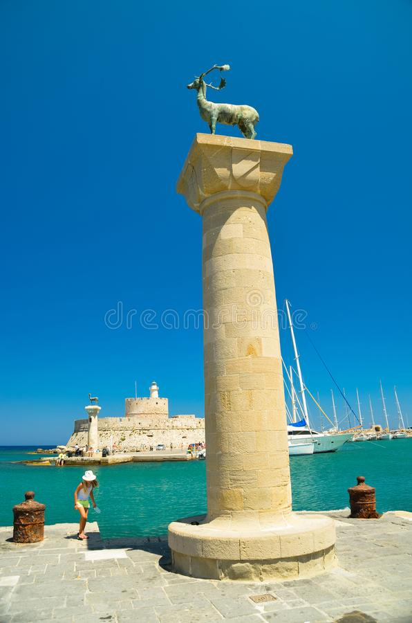 Rhodes wyspy schronienie w lecie Greece obraz stock