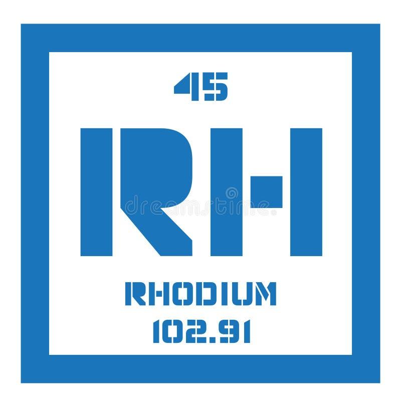 Rhodium chemisch element royalty-vrije illustratie