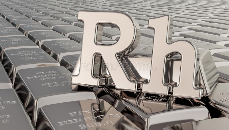 Rhodium ingots background with Rh symbol. 3D rendering vector illustration