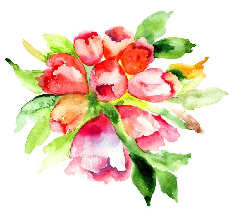 Rhododendronblomma stock illustrationer