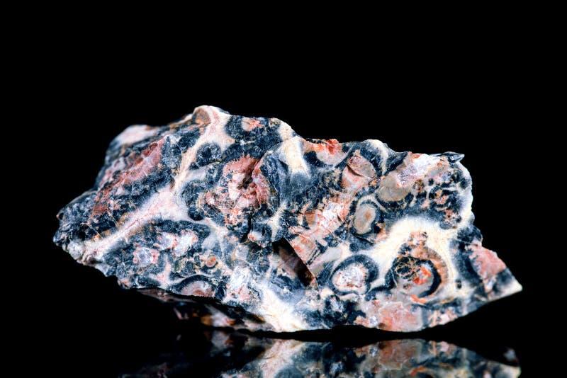 Rhodonite crudo con la pietra minerale del manganese davanti a fondo nero fotografie stock libere da diritti