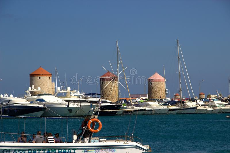 Rhodos Greece historic buildings windmill royalty free stock photos